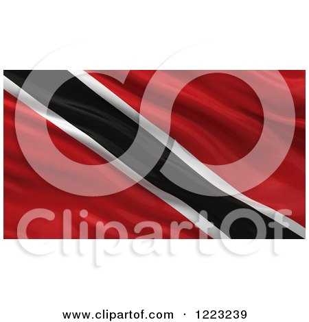 Clipart of a 3d Waving Flag of Trinidad with Rippled Fabric - Royalty Free Illustration by stockillustrations