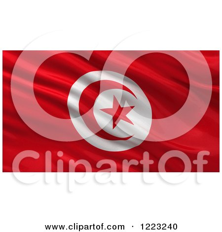 Clipart of a 3d Waving Flag of Tunisia with Rippled Fabric - Royalty Free Illustration by stockillustrations