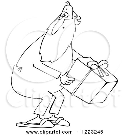 Clipart of an Outlined Santa Wearing Pjs and Picking up a Gift - Royalty Free Vector Illustration by djart