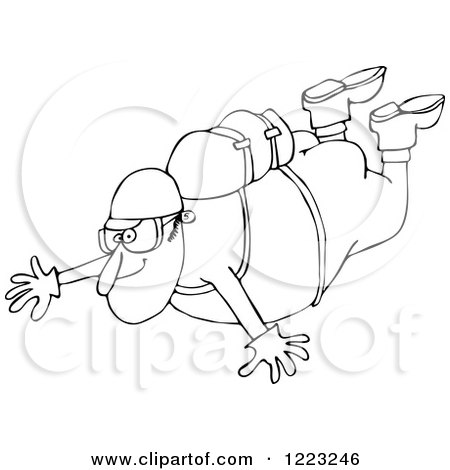 Clipart of an Outlined Nude Man Falling While Sky Diving - Royalty Free Vector Illustration by djart