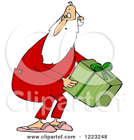 Clipart of Santa Wearing Pjs and Picking up a Gift - Royalty Free Vector Illustration by djart