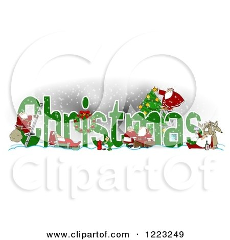 Clipart of Green Christmas Text with Satnas Reindeer and Mrs Claus - Royalty Free Illustration by djart