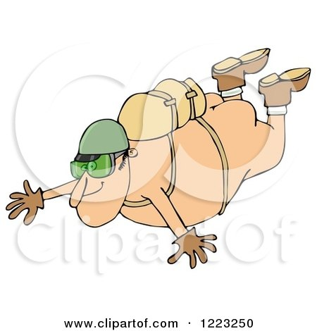 Clipart of a Nude Man Falling While Sky Diving - Royalty Free Illustration by djart