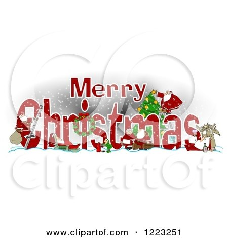 Clipart of a Red Merry Christmas Greeting with Satnas Reindeer and Mrs Claus - Royalty Free Illustration by djart