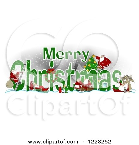 Clipart of a Green Merry Christmas Greeting with Satnas Reindeer and Mrs Claus - Royalty Free Illustration by djart