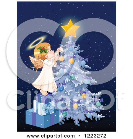 Clipart of a Cute Little Angel Girl Stepping on Gifts and Decorating a Christmas Tree, over Blue with Snow - Royalty Free Vector Illustration by Pushkin