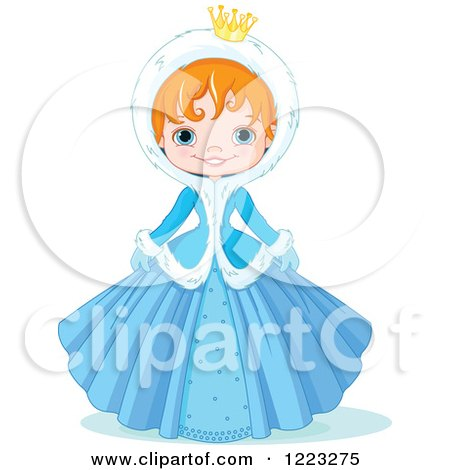 Clipart of a Cute Winter Princess in a Blue Dress and Hood - Royalty Free Vector Illustration by Pushkin