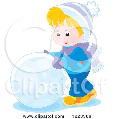 Clipart of a Happy Blond Boy Rolling a Giant Snowball - Royalty Free Vector Illustration by Alex Bannykh