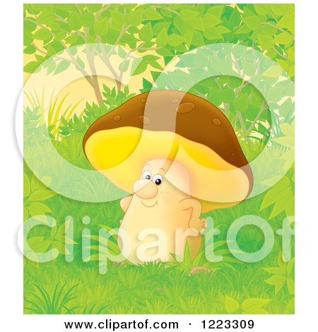 Clipart of a Happy Mushroom in the Woods - Royalty Free Illustration by Alex Bannykh