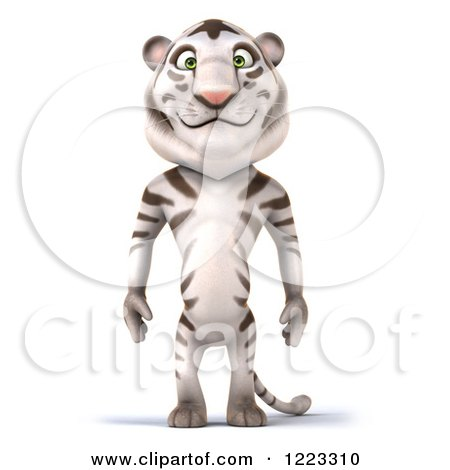 Clipart of a 3d White Tiger Mascot Standing - Royalty Free Illustration by Julos