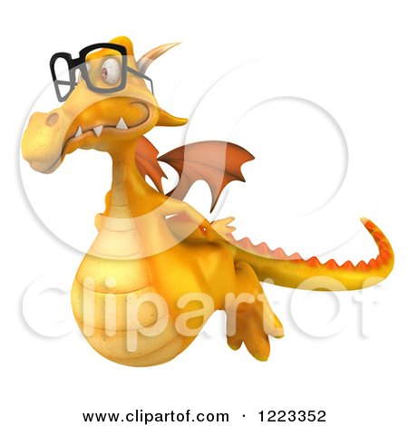 Clipart of a 3d Bespectacled Yellow Dragon Flying - Royalty Free Illustration by Julos