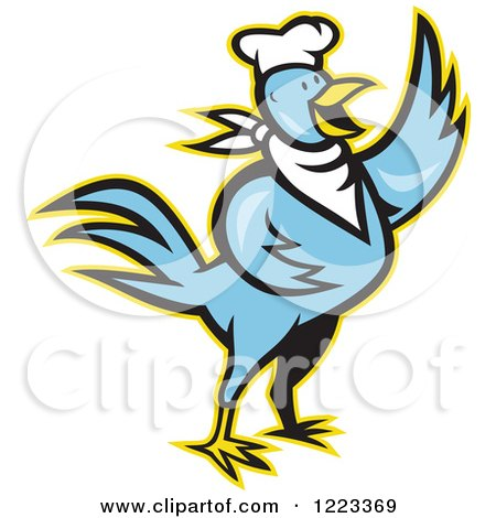 Blue Cartoon Chef Chicken Waving, with a Yellow Outline Posters, Art Prints
