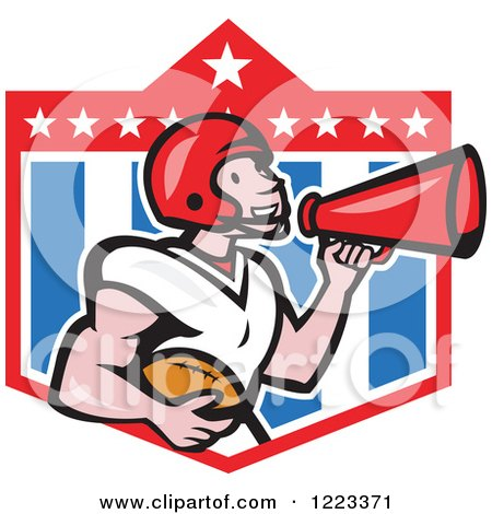 Clipart of a Cartoon American Football Player Holding a Ball and Using a Megaphone over a Shield - Royalty Free Vector Illustration by patrimonio