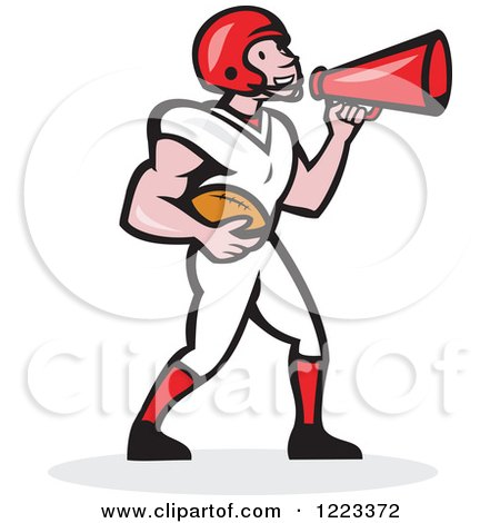 Clipart of a Cartoon American Football Player Holding a Ball and Using a Megaphone - Royalty Free Vector Illustration by patrimonio