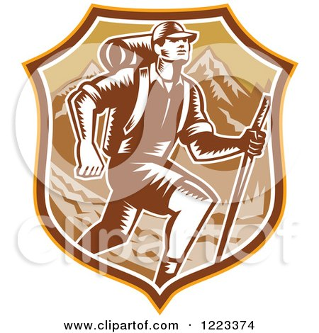 Clipart of a Retro Woodcut Man Hiking over Mountains in a Brown Shield - Royalty Free Vector Illustration by patrimonio