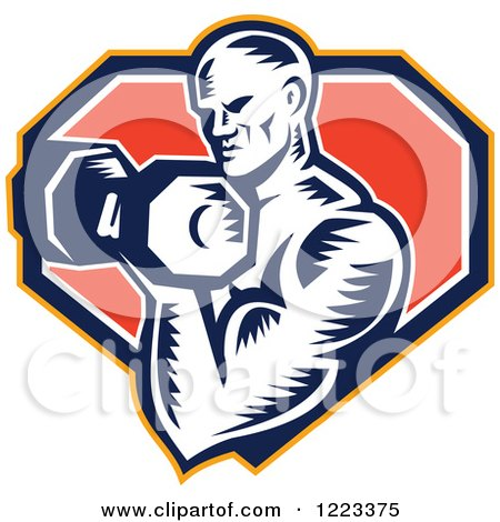 Clipart of a Retro Woodcut Male Bodybuilder Doing Bicep Curls with a Dumbbell over a Shield - Royalty Free Vector Illustration by patrimonio