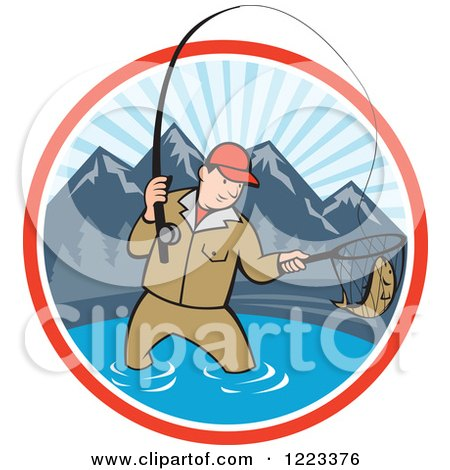 Clipart of a Cartoon Man Fly Fishing in a Mountainous Lake Circle - Royalty Free Vector Illustration by patrimonio