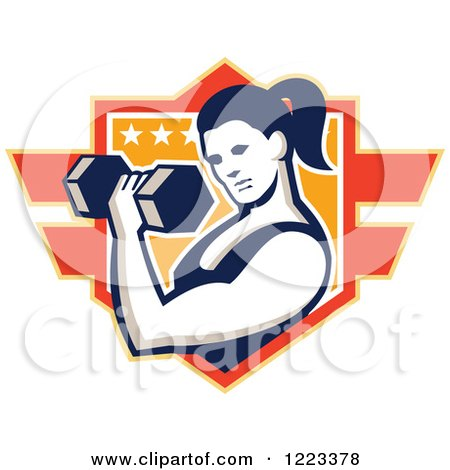 Clipart of a Strong Woman Doing Bicep Curls with a Dumbbell over a Shield - Royalty Free Vector Illustration by patrimonio
