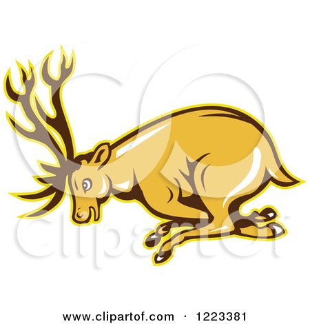 Clipart of a Cartoon Deer Buck Charging - Royalty Free Vector Illustration by patrimonio
