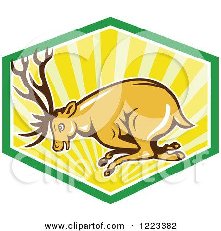Clipart of a Cartoon Deer Buck Charging in a Shield of Rays - Royalty Free Vector Illustration by patrimonio