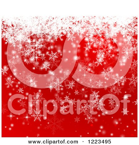 Clipart of a Red and White Snowflake Background - Royalty Free Vector Illustration by vectorace