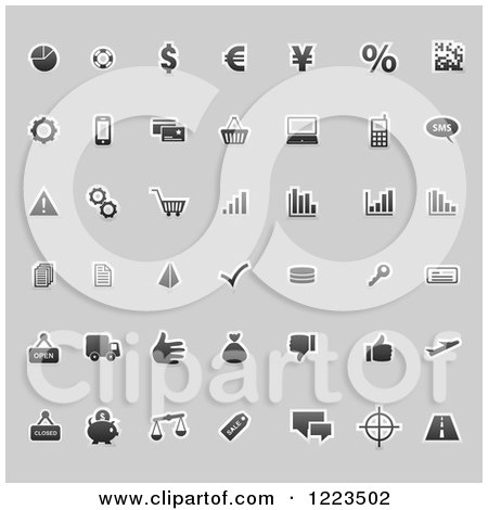 Clipart of Business Icons on Gray - Royalty Free Vector Illustration by vectorace