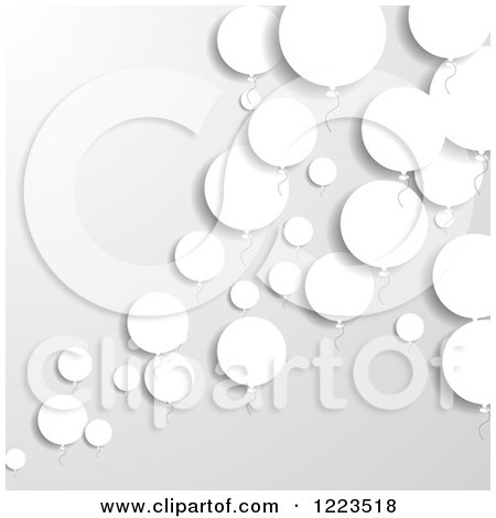 Clipart of a Background of White Paper Balloons on Gray - Royalty Free Vector Illustration by vectorace