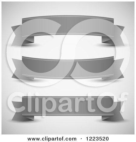 Clipart of Grayscale Ribbon Paper Banners - Royalty Free Vector Illustration by vectorace