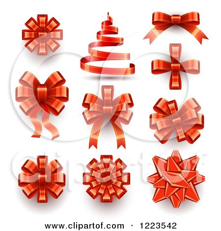Clipart of a Red Ribbons Bows and a Christmas Tree - Royalty Free Vector Illustration by vectorace