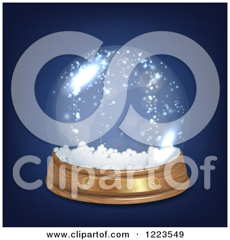 Clipart of a Snow Globe on Blue - Royalty Free Vector Illustration by vectorace