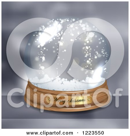 Clipart of a Merry Christmas Greeting on a Snow Globe - Royalty Free Vector Illustration by vectorace