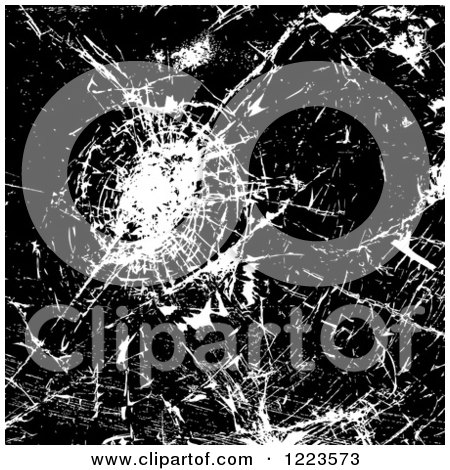 Clipart of a Black and White Background of Shattered Glass - Royalty Free Vector Illustration by vectorace
