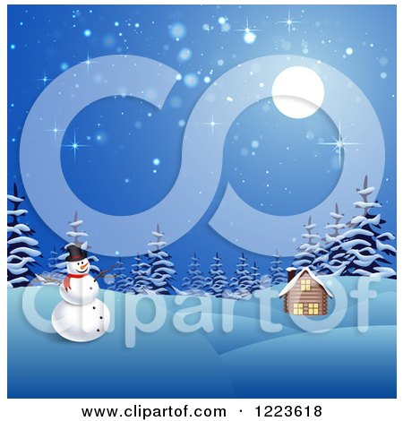 Clipart of a Snowman and Winter Cabin on a Winter Night - Royalty Free Vector Illustration by vectorace