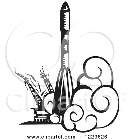 Clipart of a Woodcut Russian Soyuz Rocket Launching, in Black and White - Royalty Free Vector Illustration by xunantunich