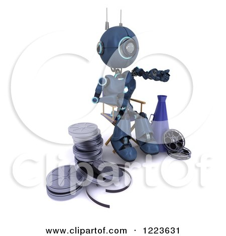 Clipart of a 3d Blue Android Robot Movie Director Working - Royalty Free Illustration by KJ Pargeter