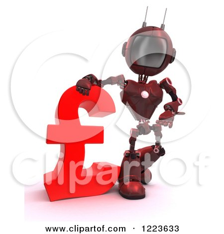 Clipart of a 3d Red Android Robot Standing by a Lira Currency Symbol - Royalty Free Illustration by KJ Pargeter