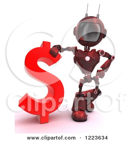 Clipart of a 3d Red Android Robot Standing by a Dollar Currency Symbol - Royalty Free Illustration by KJ Pargeter