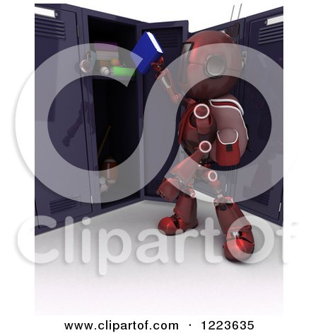 3d Red Android Robot Student Putting a Book in a Locker Posters, Art Prints