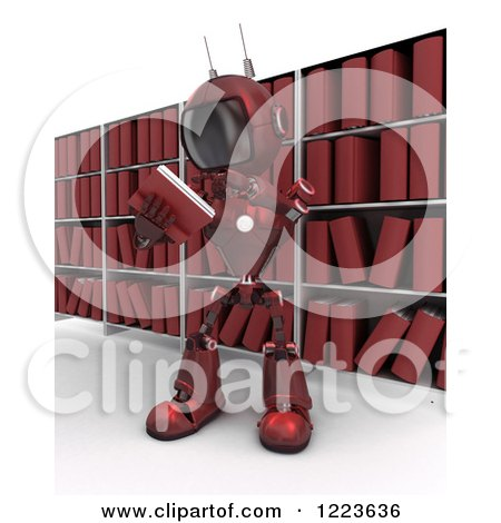 Clipart of a 3d Red Android Robot Reading a Book in an Archive Room - Royalty Free Illustration by KJ Pargeter