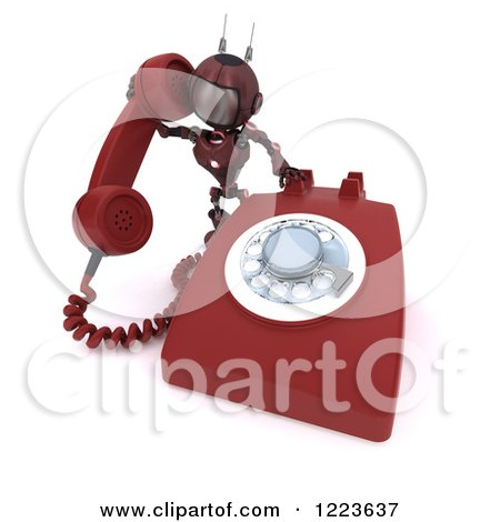 Clipart of a 3d Red Android Robot Using a Landline Telephone - Royalty Free Illustration by KJ Pargeter
