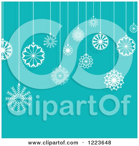 Clipart of a Turquoise Background with Suspended Christmas Snowflake Ornaments - Royalty Free Vector Illustration by KJ Pargeter