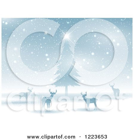Clipart of Silhouetted Alert Deer Around a Christmas Tree in the Snow at Night - Royalty Free Vector Illustration by KJ Pargeter