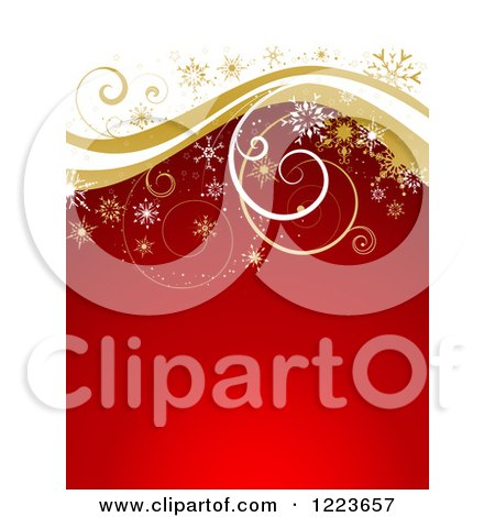 Red and White Christmas Background with Golden Curly Waves and Snowflakes Posters, Art Prints