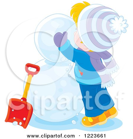 Clipart of a Blond Boy Making a Snowman - Royalty Free Vector Illustration by Alex Bannykh