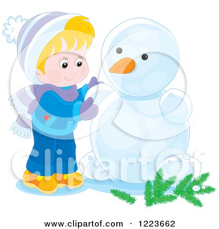 Clipart of a Blond Boy Making a Snowman with Arms - Royalty Free Vector Illustration by Alex Bannykh