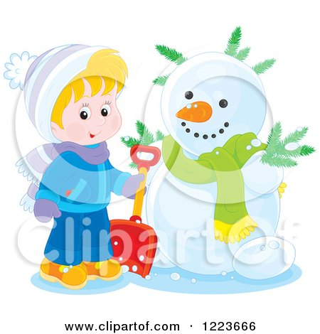 Clipart of a Blond Boy Holding a Shovel by a Snowman - Royalty Free Vector Illustration by Alex Bannykh