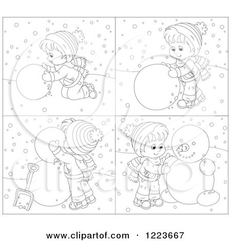 Clipart of a Black and White Boy Making a Snowman - Royalty Free Vector Illustration by Alex Bannykh