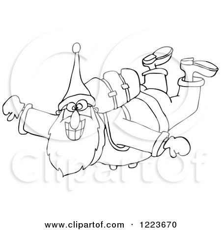 Clipart of an Outlined Santa Free Falling While Skydiving - Royalty Free Vector Illustration by djart
