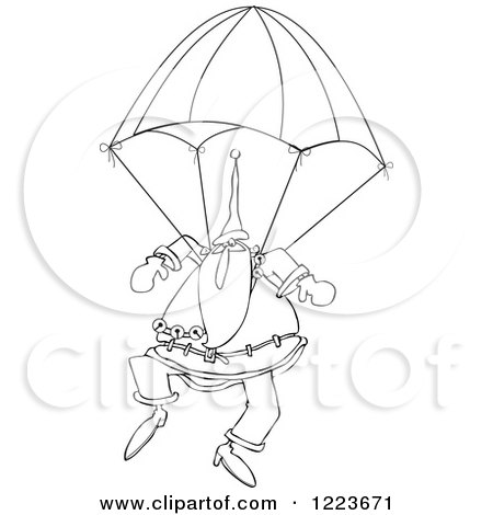 Clipart of an Outlined Santa Descending with a Skydiving Parachute - Royalty Free Vector Illustration by djart