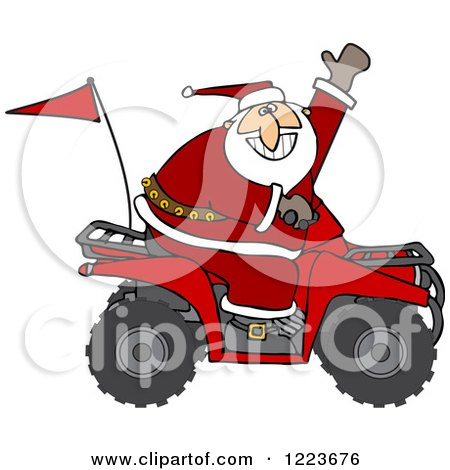 Clipart of Santa Waving and Driving an Atv Mud Bug - Royalty Free Vector Illustration by djart